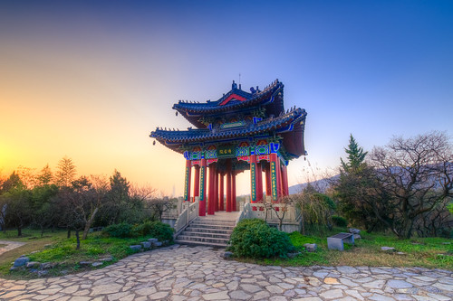 pavilion sunset winter pagoda building architecture blue sky twilight dusk outdoor ancient old tree nature wild nikon nikond800 tamronsp1530f28