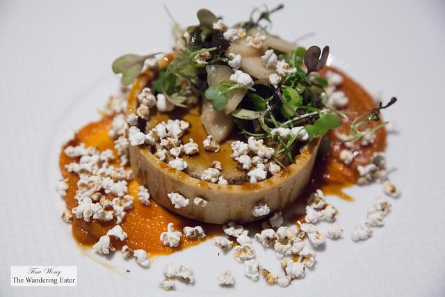 Foie gras tart, popped sorghum, roast carrot puree, pear aigre-doux