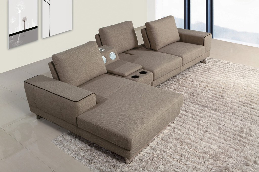 Modern Fabric Sectional Sofa furniture in Grey color - VGM ...