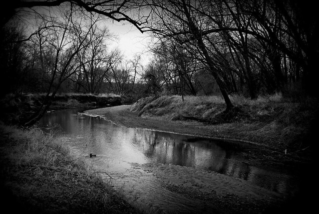 a small, quiet, slow-moving, placid, shallow stream of water