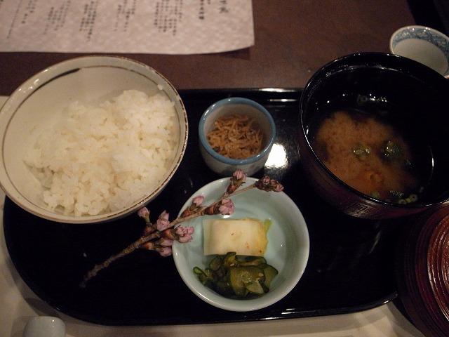 <p>k)お食事:じゃこごはん、味噌汁、香の物</p>