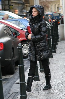 Going to work in shiny downjacket hood up in cold Prague morning
