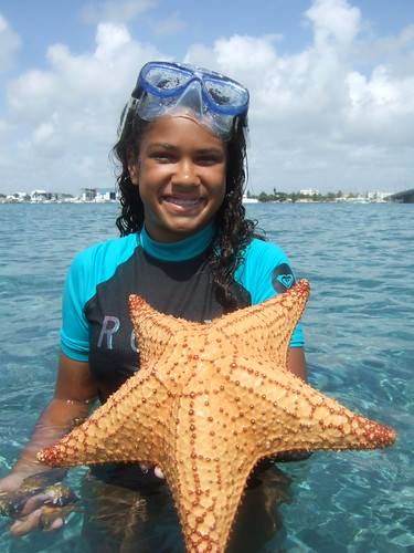 Brianna with a cushion starfish | by AdventureMIke.com