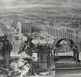 Phillip Medhurst Bible: Moses directs the erection of the tabernacle. Exodus cap 40 vv 17-19. Hoet