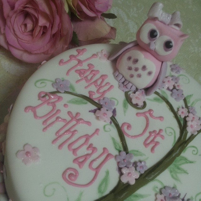 A Cute Owl Birthday Cake For Beautiful Little Girl Happy Maisie