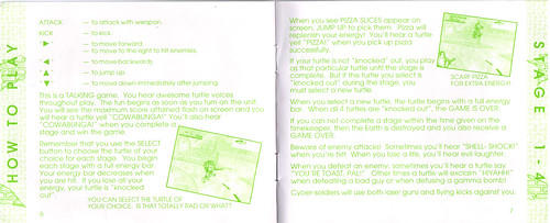 "TIGER ELECTRONICS :: ""TEENAGE MUTANT NINJA TURTLES: DIMENSION-X ASSAULT"" 'TALKING' ELECTRONIC LCD GAME ..INSTRUCTION MANUAL  pgs. 6,7 (( 1995 )) by tOkKa"