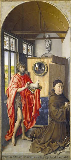Werl Altarpiece - left panel, Saint John the Baptist and the franciscan master Henri de Werl (1438)