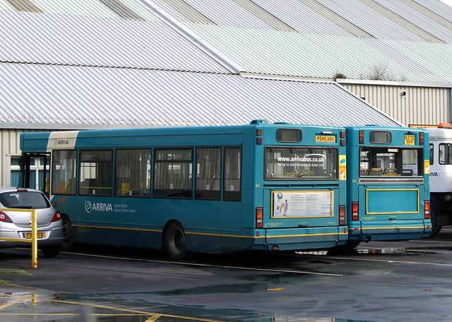 Arriva Cymru  801 R546ABA Dennis Dart Plaxton Pointer former MTL 7546 & 832 (SMC272) X272RFF Dennis Dart Plaxton Pointer