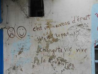 """""""C'est un nouveau départ Si tu veux tu peux changer ta vie"""" Tunis January 2012"""