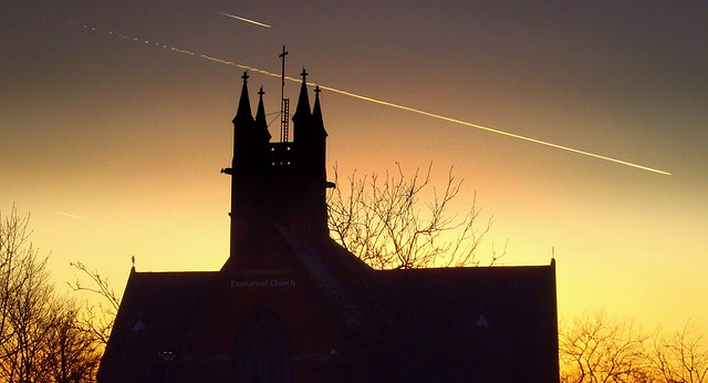 Sunset over Emmanuel C of E Church in Preston