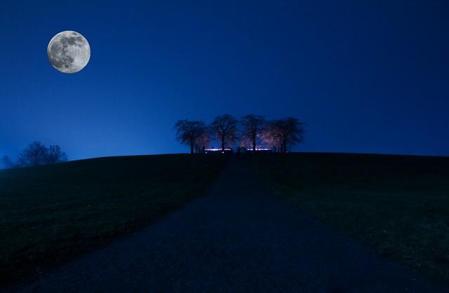 Spooky All Saint's Day Blue Hour [EXPLORE FIRST PAGE Nov 25 2011] Skogskyrkogården / Sweden (UNESCO world heritage)