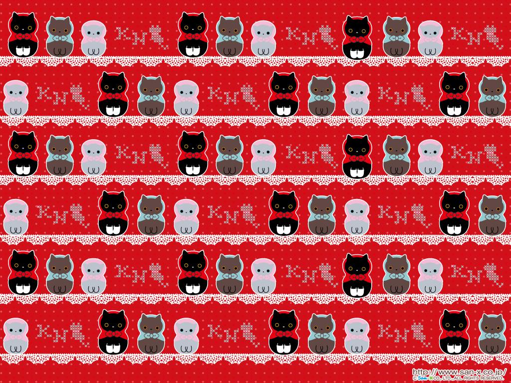 Christmas Zombie Wallpaper.San X Christmas Wallpaper Kutusita Nyanko Red Cat Mama