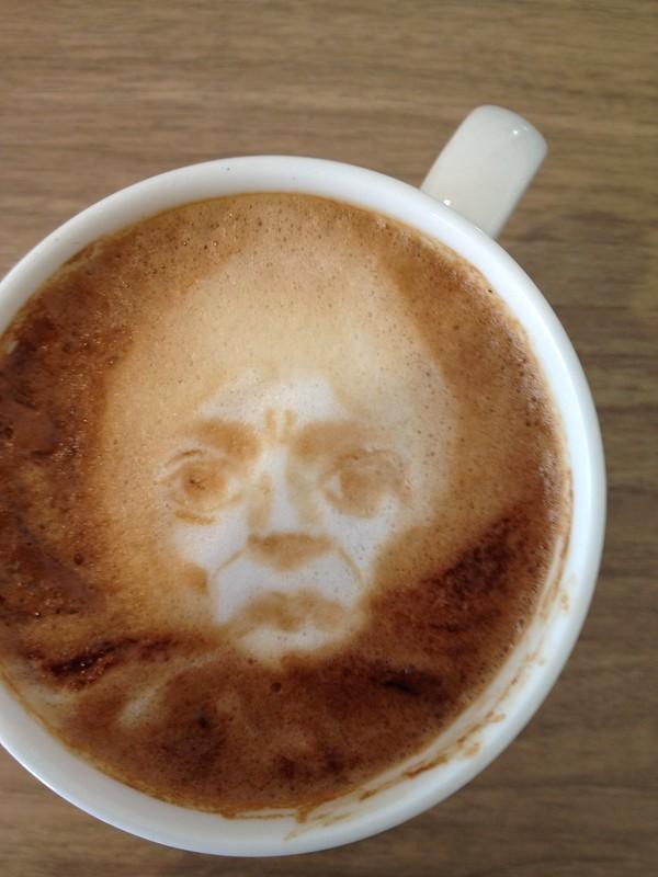 Today's latte, Miles Davis/TUTU... RIP Eiko Ishioka. (I didn't mean to make him afro hair!!)