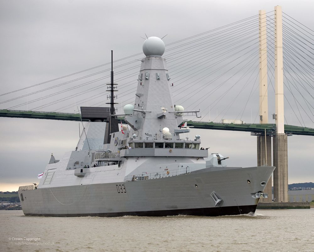 Type 45 Destroyer HMS Dauntless Sails Under the Dartford Bridge