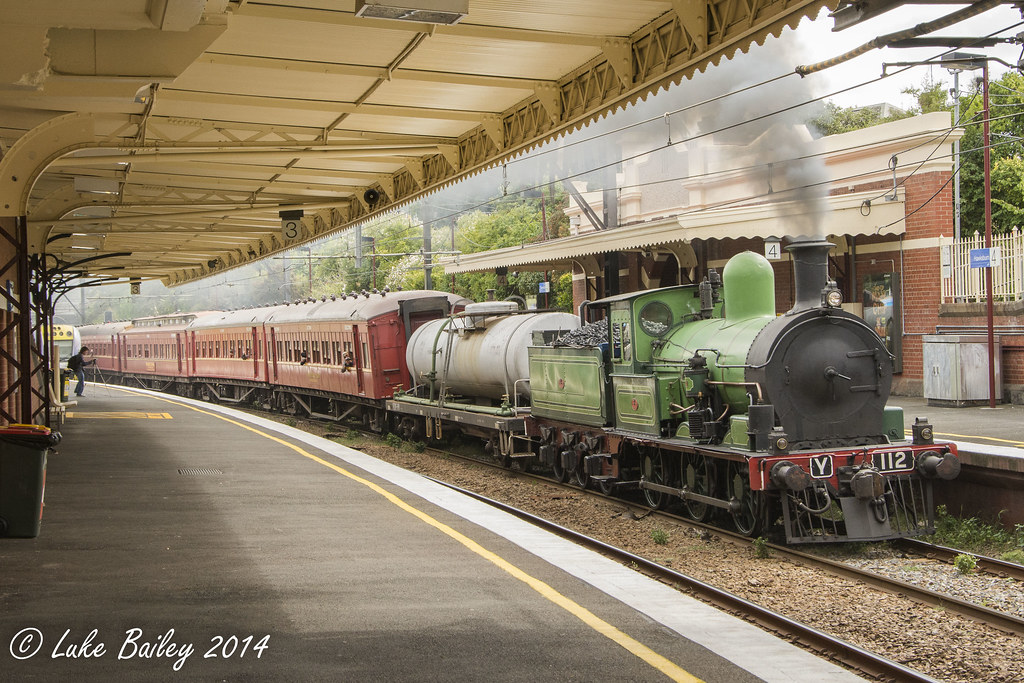 Y112 (steam) leads Y164 with Steamrail Victoria's #8875
