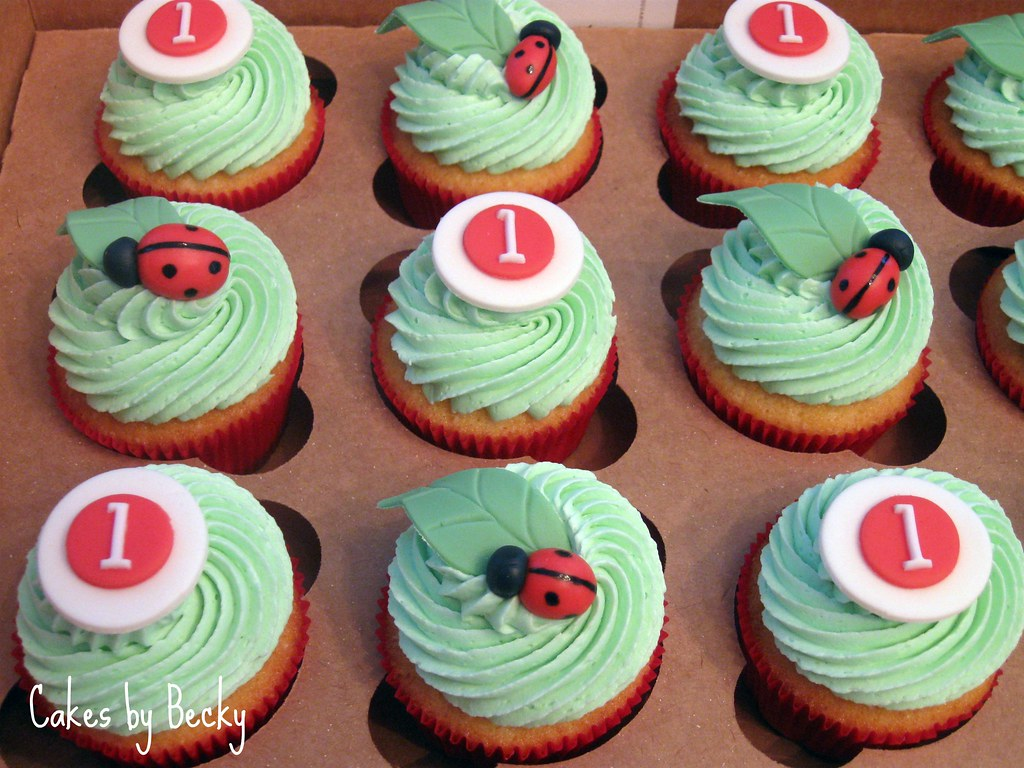 Pleasing Ladybug First Birthday Cupcakes Vanilla Cupcakes With Vani Flickr Funny Birthday Cards Online Kookostrdamsfinfo