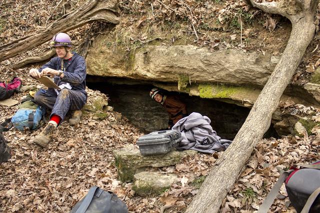 Broady Cave entrance, Ken Oeser, Kristen Bobo, Dekalb Co, TN
