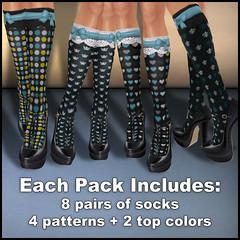 Fashionably Late - Patterned Socks - Dark Teals