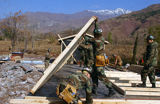 Seabees build a temporary school in Pakistan as part of Operation Lifeline