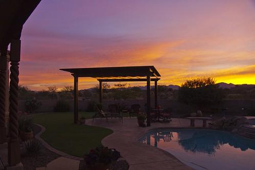 arizona sky orange usa reflection pool clouds sunrise nopeople tranquile pergola colorimage sonyslta77v
