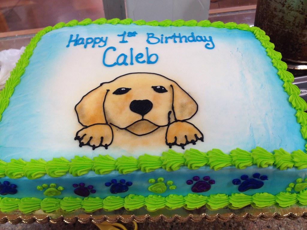 Strange First Birthday Cake With A Golden Retriever Misslandis Flickr Funny Birthday Cards Online Alyptdamsfinfo