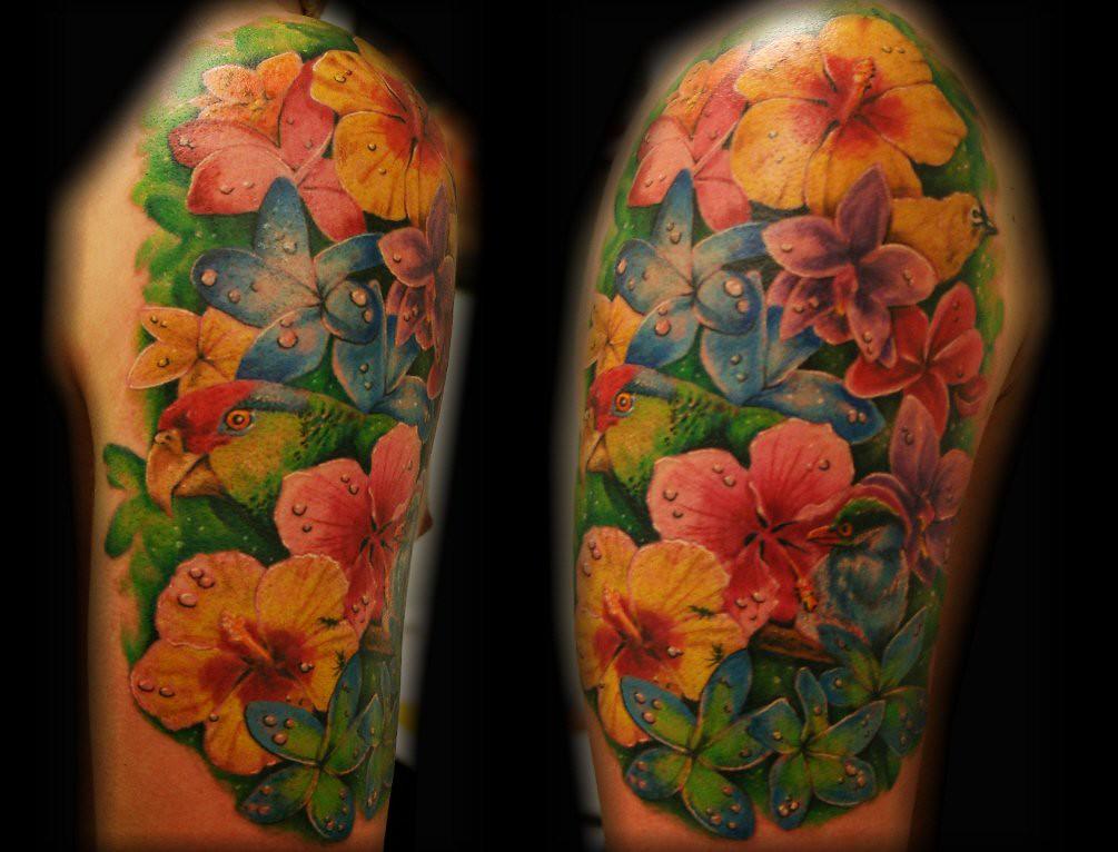 Tropical flower bird parrot tattoo by Jackie Rabbit