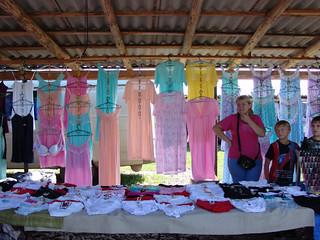 Women selling underwear at the open market