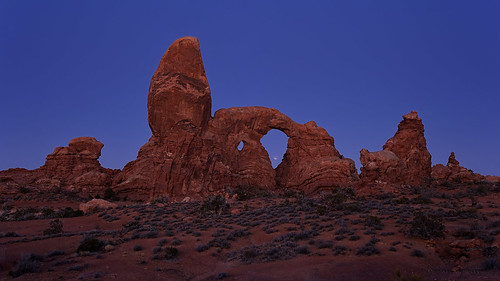 moon nature rock night sunrise landscape dawn eclipse nationalpark twilight nikon arch nps arches luna astrophotography astronomy archesnationalpark 169 lunar turret lunareclipse outcropping d700