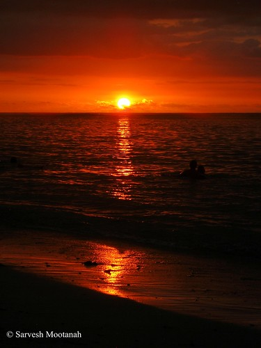 sunset sea beach waves mauritius