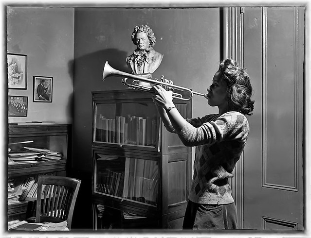 Black Coed Playing Trumpet at Howard University in 1950