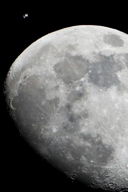 Moon and ISS Wallpaper