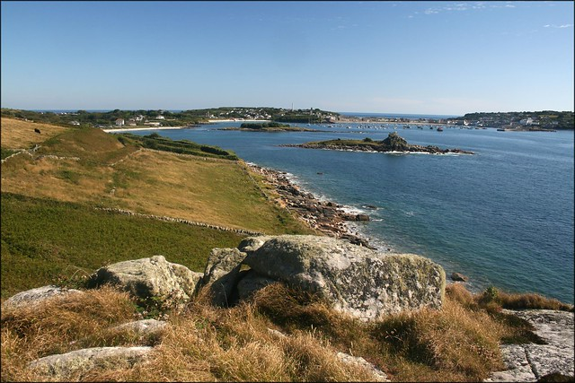 View back to Hugh Town, St Marys, Isles of Scilly