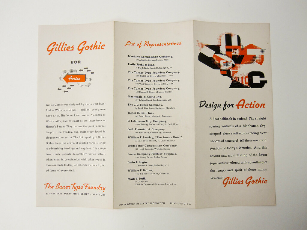 Alexey Brodovitch design for Gillies Gothic typeface brochure