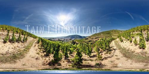 panorama france landscape vineyard vines wine famous harvest stitched 360x180 syrah rhone ptgui tainlhermitage equirectangular canon1740mm nodalninja3 cavedetain canon5dmk2 garretveley topazremask promotecontrol