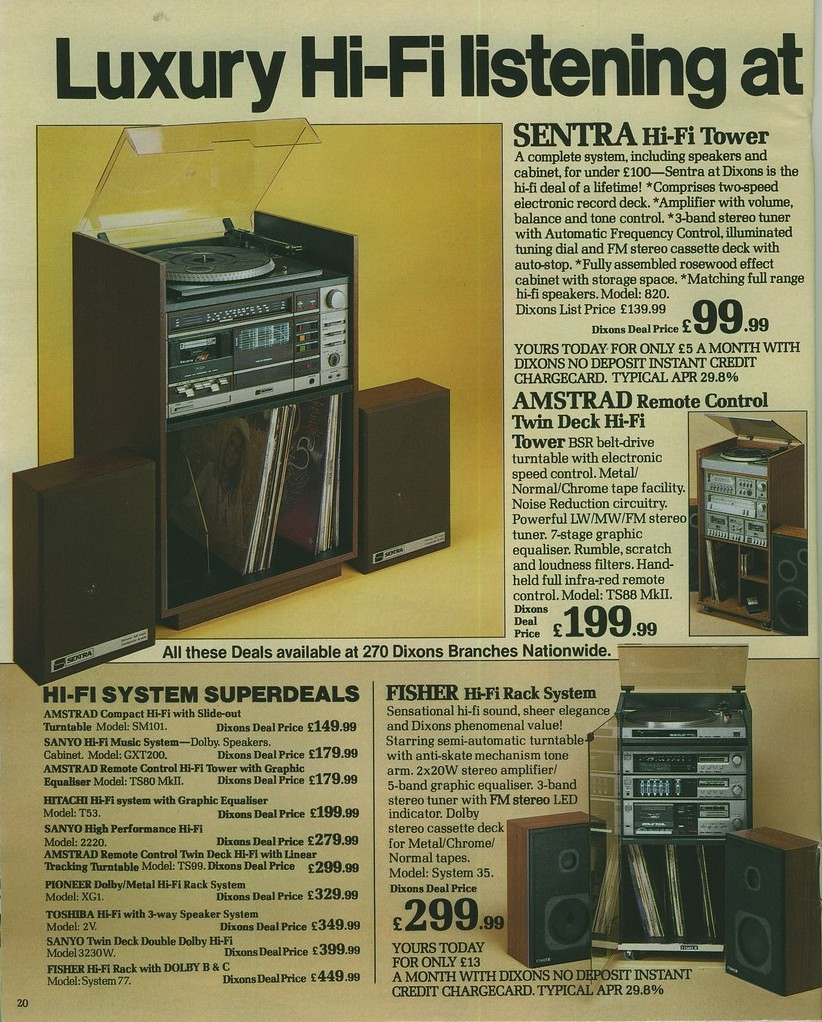 Page from Dixons catalogue (1980s) featuring Hi-Fi Tower Systems from Amstrad, Sanyo, Hitachi, Pioneer, Toshiba, Fisher