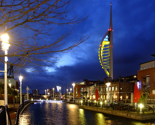 christmas xmas autumn england cold tower fall night canal december nocturnal cloudy dusk windy hampshire lookout spinnakertower observationtower gosport canalside chrimbo portsmouthharbour 2011 gunwharfquays harbourtower seawardtower