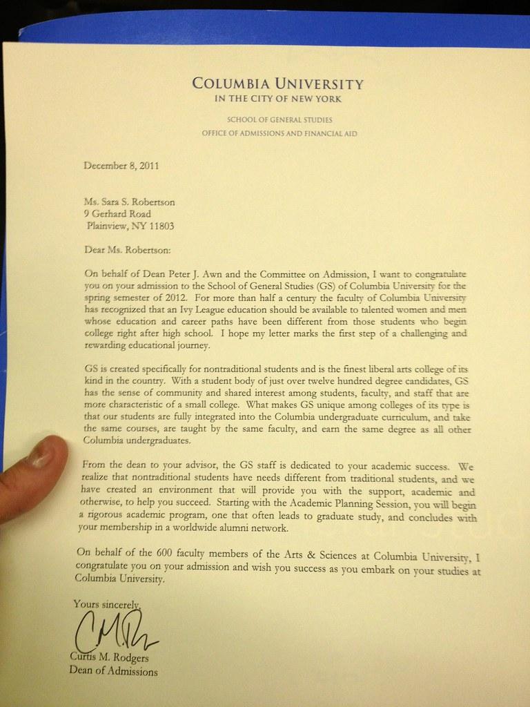 Columbia Acceptance Letter.Columbia Acceptance Letter Jeff Flickr