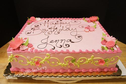 Strange Pink And Green Birthday Cake Pink With Green Swirls And Pi Flickr Funny Birthday Cards Online Alyptdamsfinfo