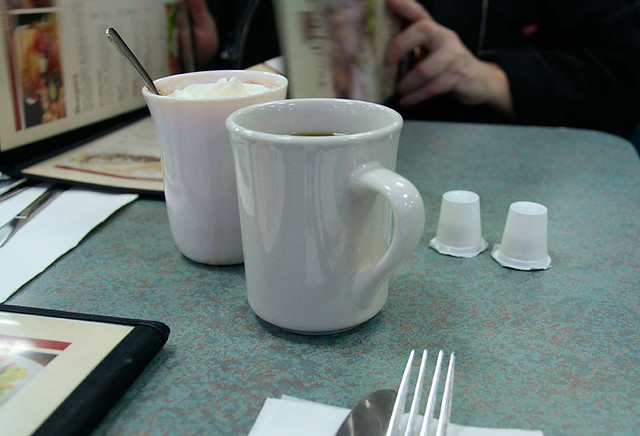 coffee, hot chocolate and a fork
