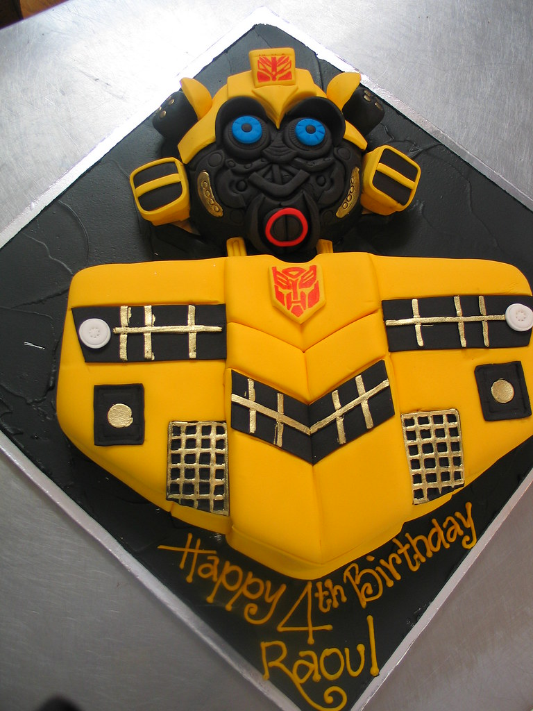Miraculous Transformers Bumblebee Birthday Cake Charlys Bakery Flickr Personalised Birthday Cards Paralily Jamesorg