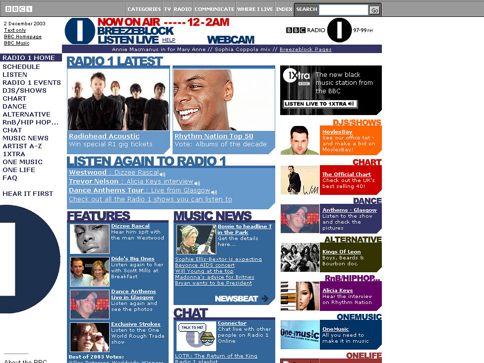Radio 1 website, c 2002 | Grabbed from www archive org | Flickr