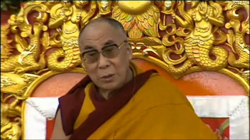 His Holiness the Dalai Lama, teaching from his throne, scr… | Flickr