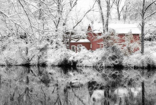 road park wood old morning winter red usa white house snow cold reflection building tree home window nature beautiful architecture rural forest river season landscape outside franklin mirror frozen newjersey construction scenery frost waterfront natural bright outdoor snowy path farm scenic drcanal nj nobody scene things calm structure historic reflected silence covered dreamscape topaz delawareraritancanal