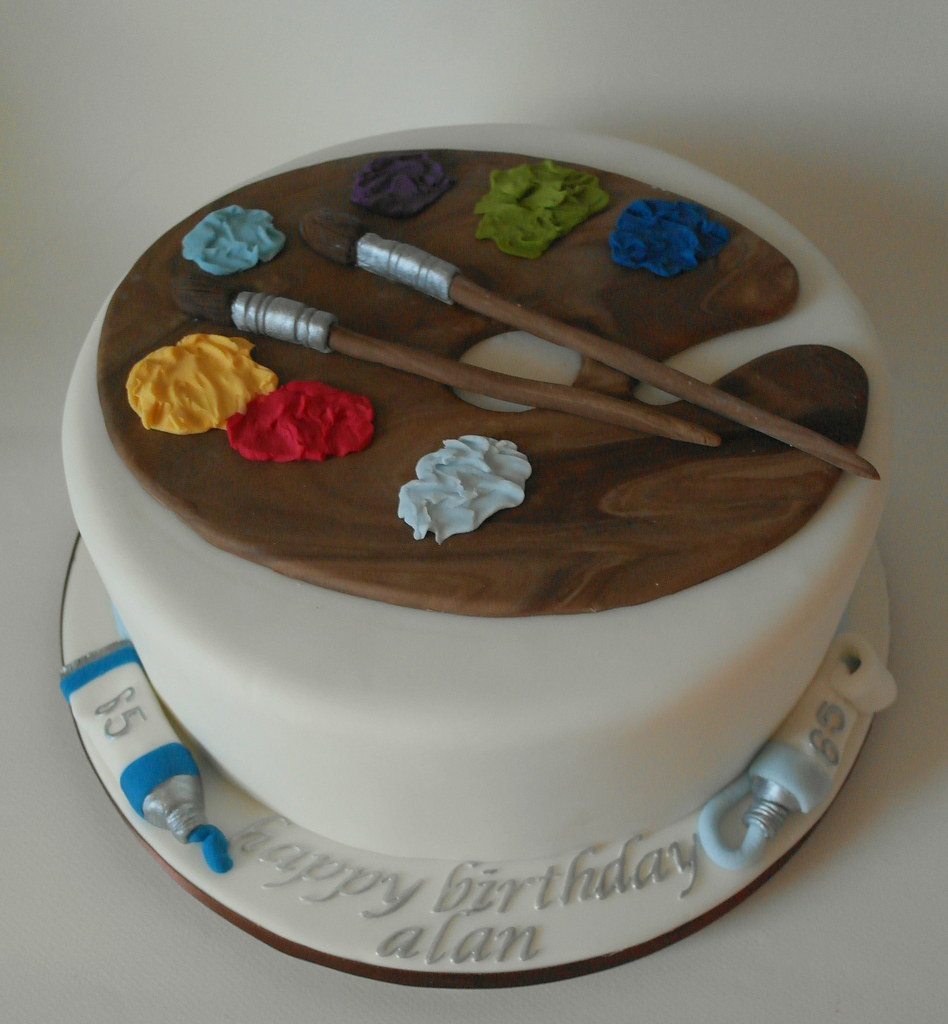 Admirable Artist Themed 65Th Birthday Cake A Quadruple Layered Madag Flickr Personalised Birthday Cards Paralily Jamesorg