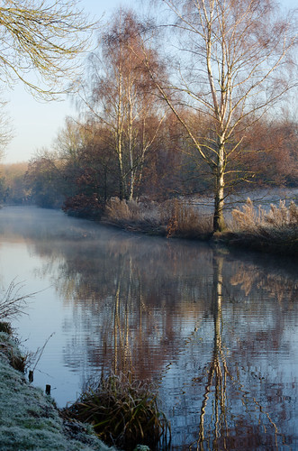 Wintry canal scene