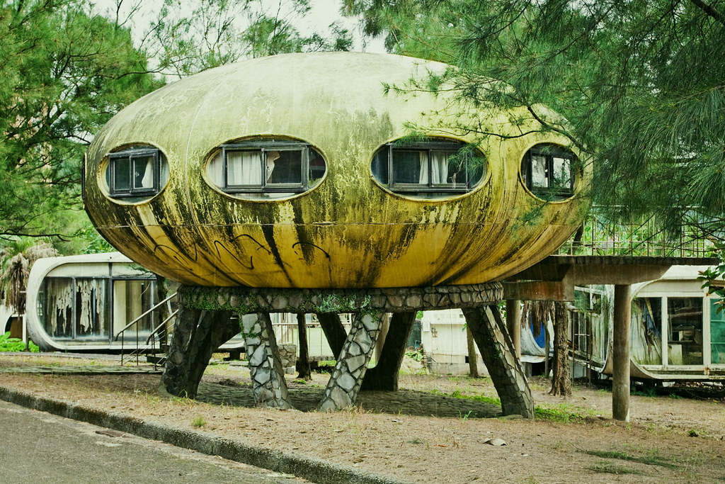 abandoned Futuro House village in Taiwan