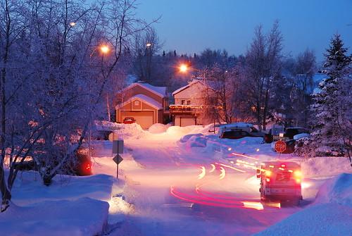 snow alaska night anchorage flickrdiamond regionwide
