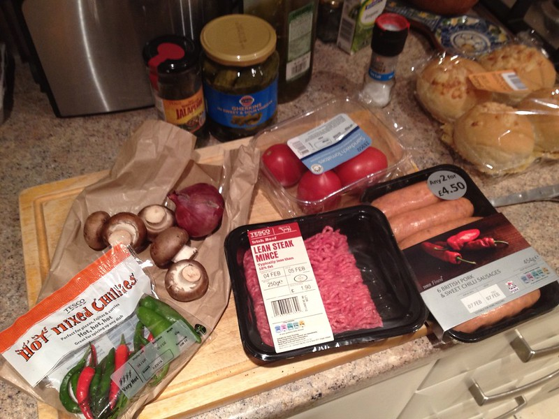 Spicy burger ingredients