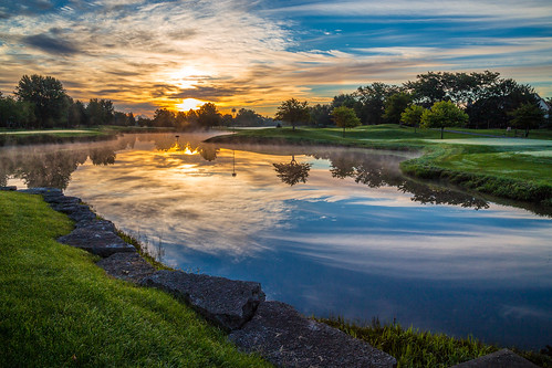 morning sky reflection tree water clouds sunrise lawn golfcourse canonef24105mmf4lisusm canoneos6d autumn2015 arboretumclub