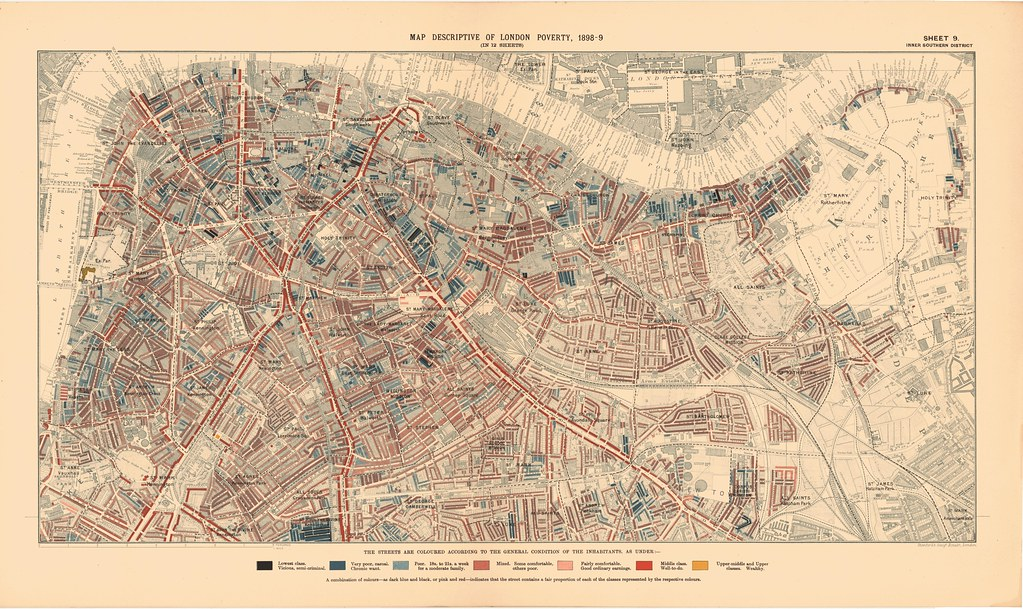 Map Inner London.Printed Map Descriptive Of London Poverty 1898 1899 Sheet Flickr